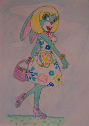 SPRING the Aqua Green Bunny by mkl91