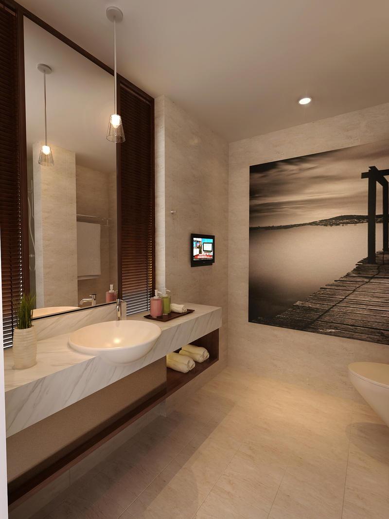 bathroom without bath tub