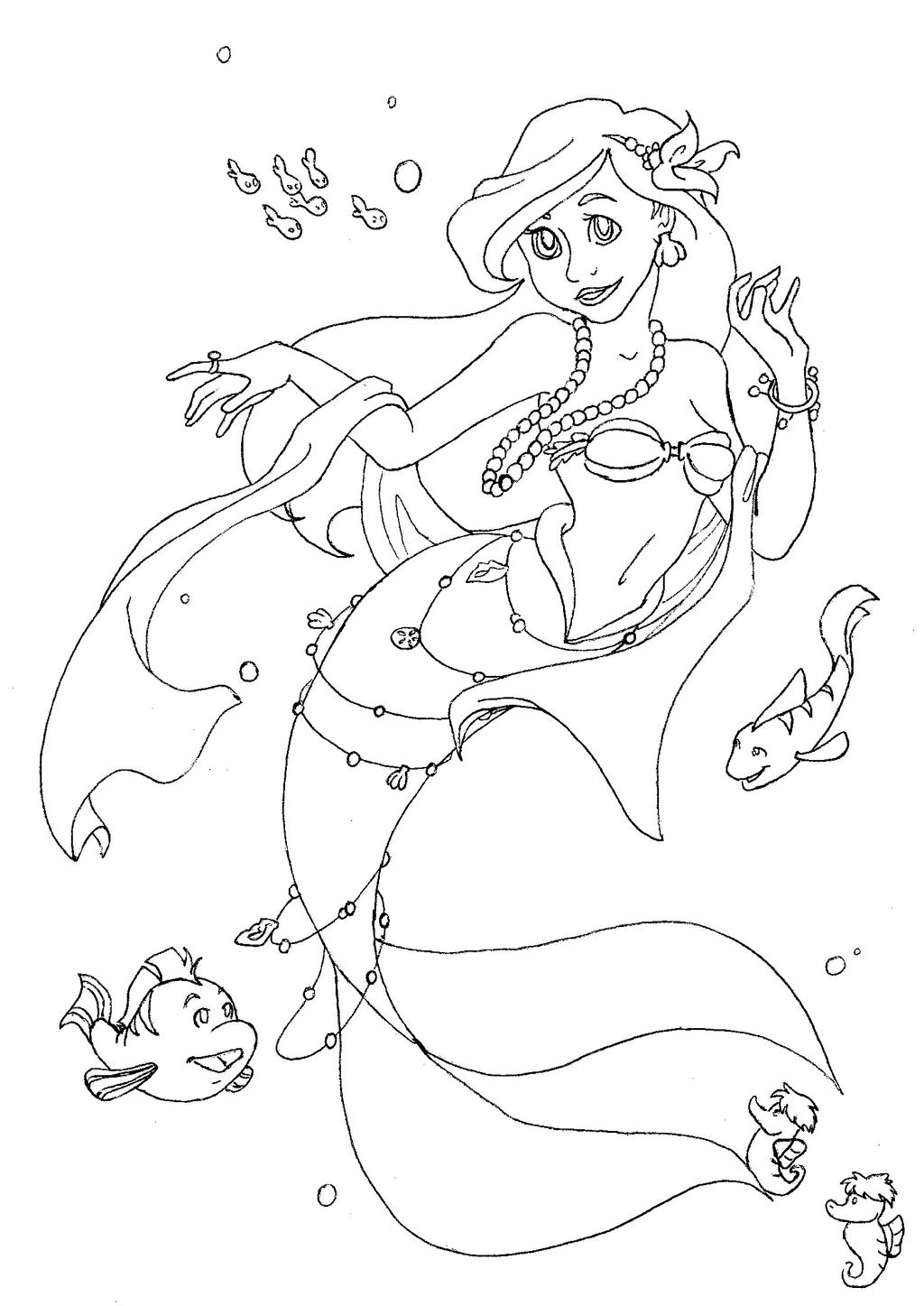 ariel coloring page by tophis1 on deviantart