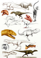 allosauroids - sketches by Apsaravis