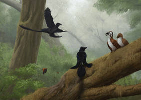 Microraptor and Jeholornis by Apsaravis