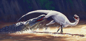 Eucoelophysis attacked by Redondasaurus
