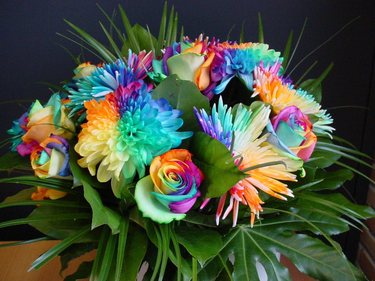 Happy colors rainbow bouquet by rainbowedroses on deviantart for What are rainbow roses