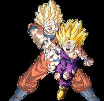 Goku and Gohan - Dragonball Z - Render