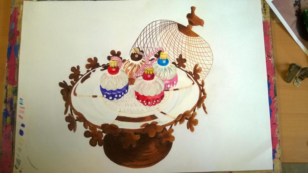 Cupcake Baubles and Cake Stand by AuroraEmberNeko