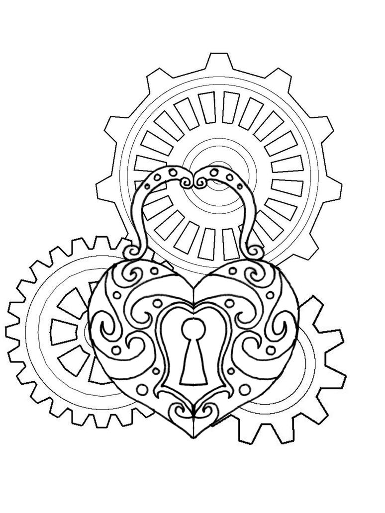Free Tattoo Line Drawing : Steampunk at heart lineart by bloodmoonequinox on deviantart