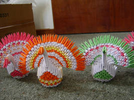 3D origami peacocks by juls2
