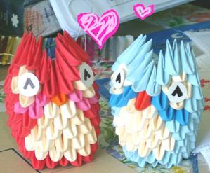 Origamimodulowe 49 2 3d Origami Mini Owls By Juls2