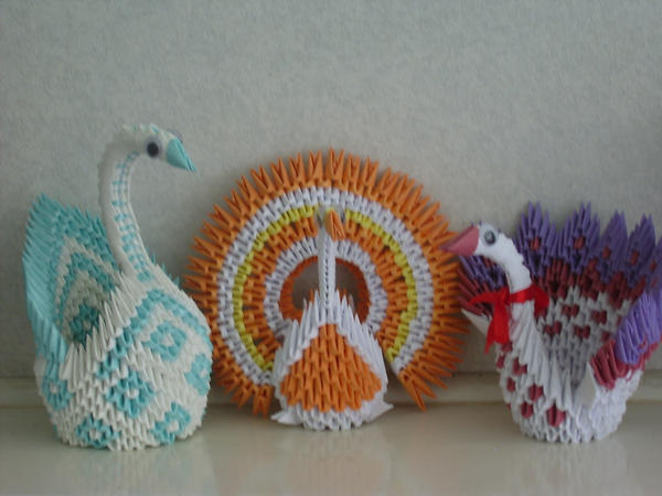 3d Origami Swan And Peacocks By Juls2