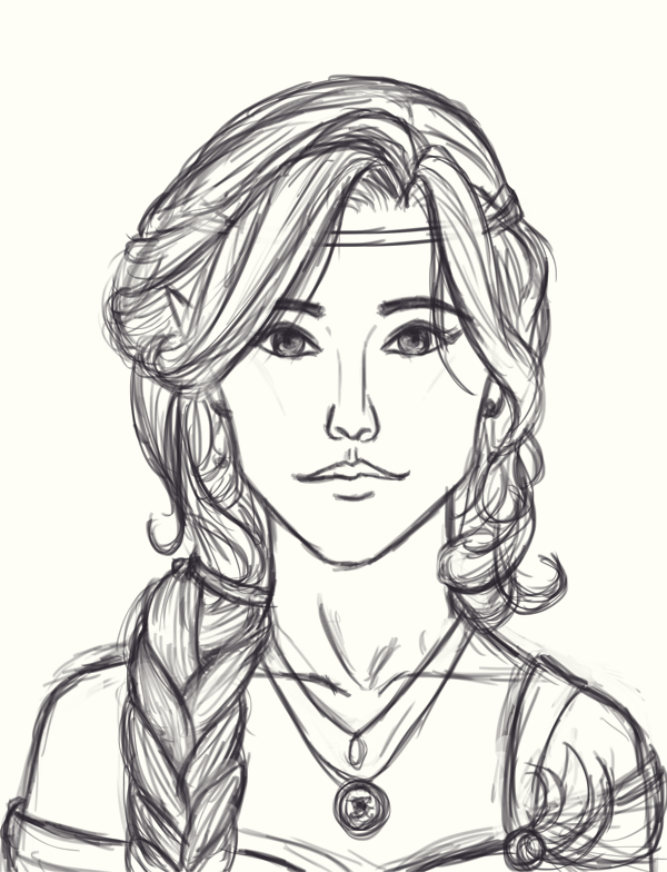 Quick Portrait Bust Line - Kethryllia Saevel by SaucyMuse