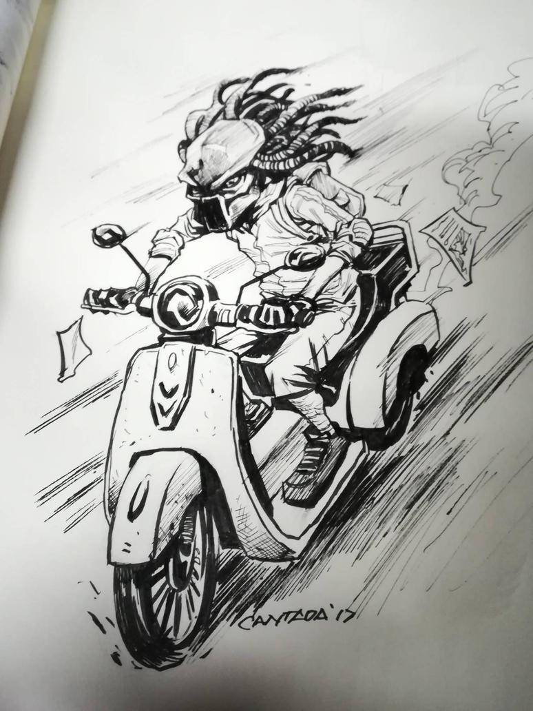 Predator Rider #inktober2014 by EVC
