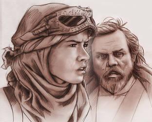 Rey and Luke by baslergrafik
