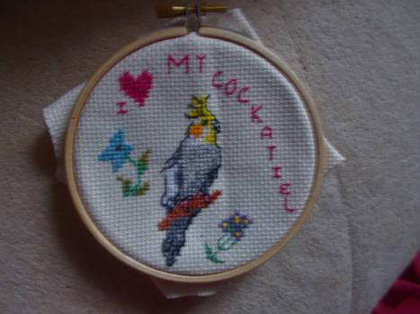 I love my cockatiel cross stitch