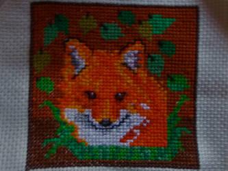 Fox in the woods cross stitch
