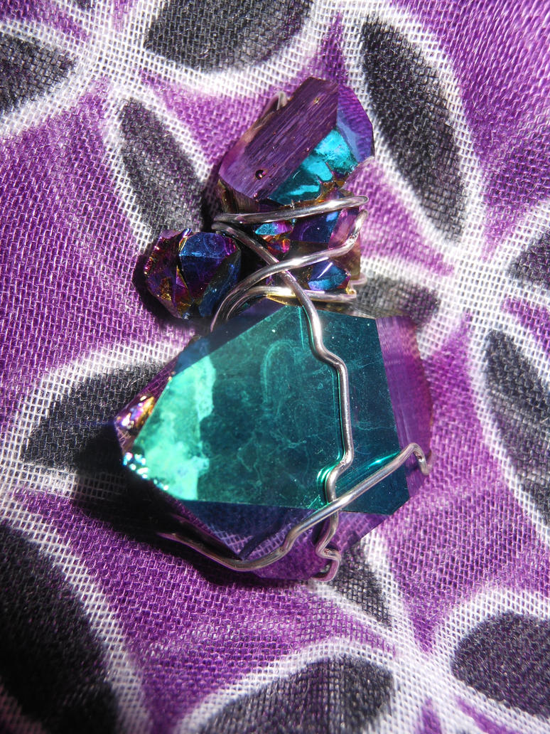 Titanium Rainbow Quartz Pendant by Pi-ray