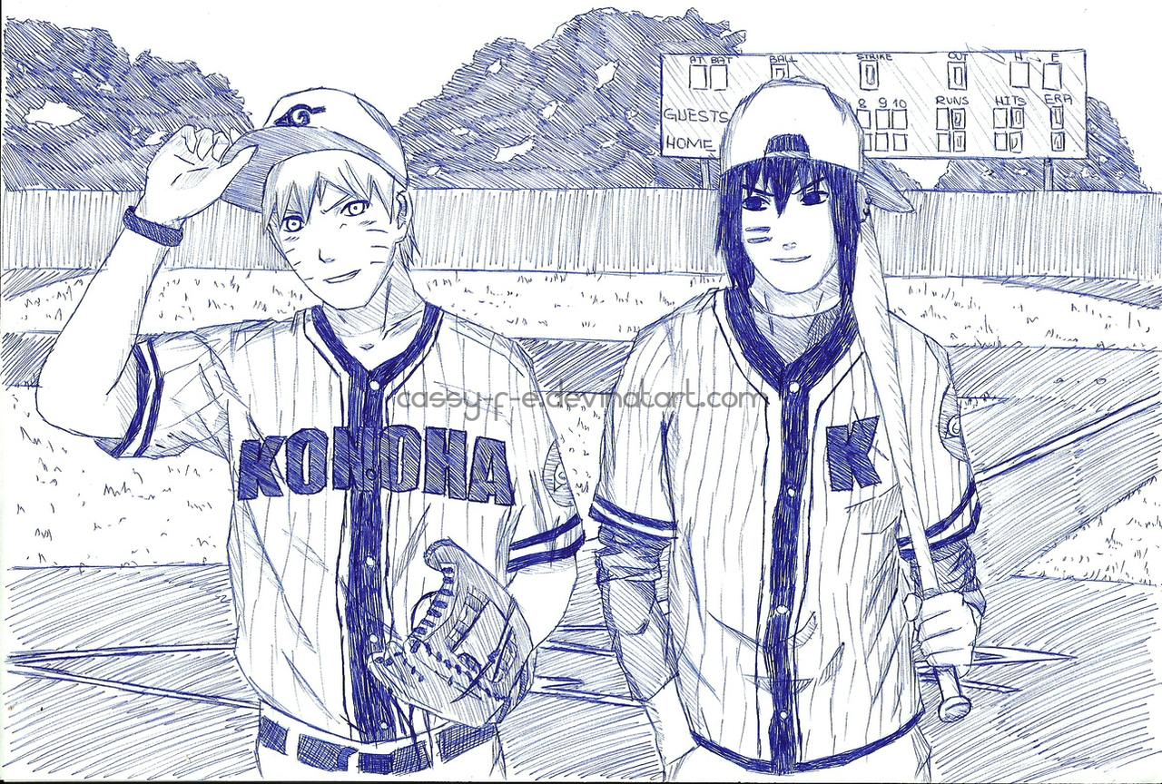 Pen Sketch - Naruto n Sasuke by Cassy-F-E