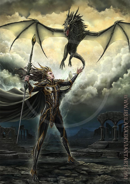 Sorcerer summoning the Dragon by Irulana