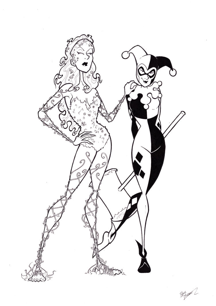 Poison Ivy And Harley Quinn By BevisMusson On DeviantArt