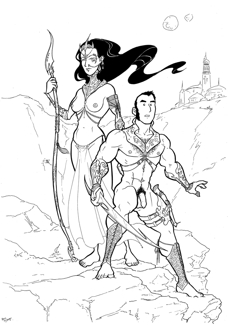 Dejah Thoris and John Carter by BevisMusson