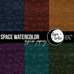 Space Watercolor Digital Papers
