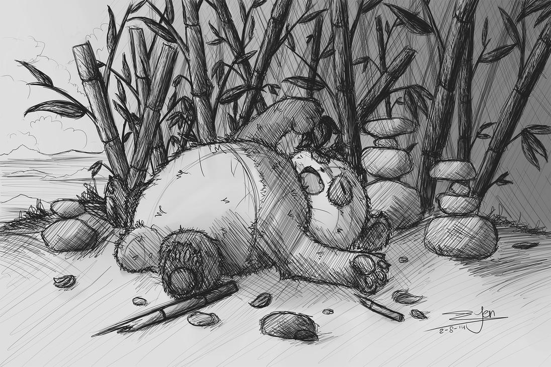Fluffy Panda Sketch - Grey Background By NezuPanda On DeviantArt