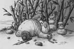Fluffy Panda Sketch - Grey Background