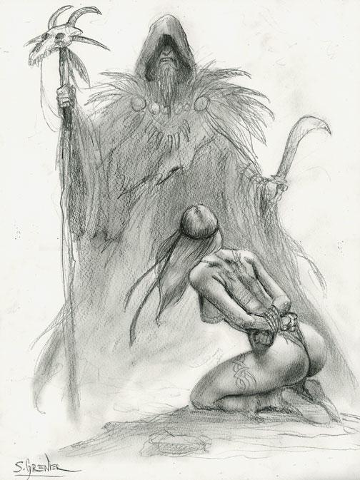 Guerriere-et-druide by sebastien-grenier