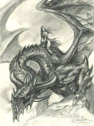 Daenerys-and-Drogon by sebastien-grenier