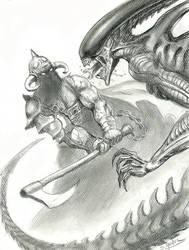 Death-Dealer-VS-Alien by sebastien-grenier
