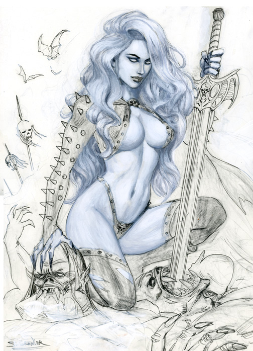 Lady Death  Commission Step 2 by sebastien-grenier