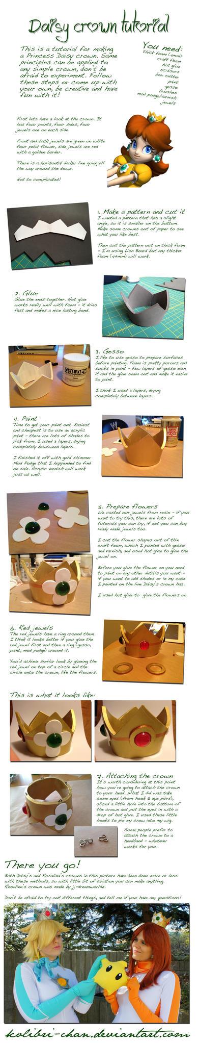 Princess Daisy crown tutorial by kolibri-chan