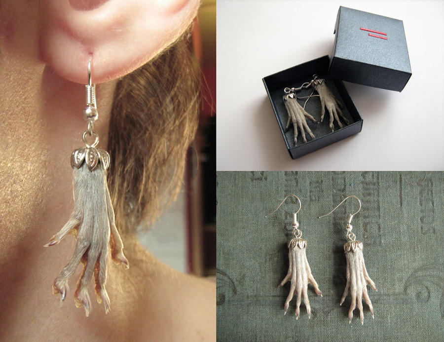 Rat Foot Earrings by L-oczk