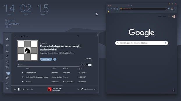 Nord themed apps: Spotify and Google Chrome