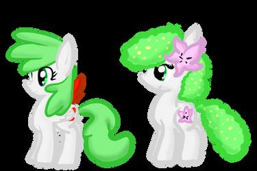 Skymin and Shaymin Ponyfied by Mew-Pie