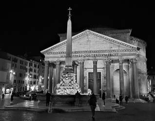 Roman Walks-Piazza della Rotonda and Pantheon b/w
