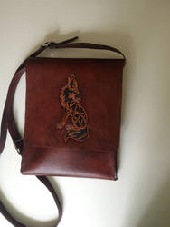 Tooled Handcrafted Celtic Wolf Messenger Bag by lbaker22