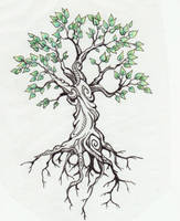 tree tattoo by Kittencaboodles