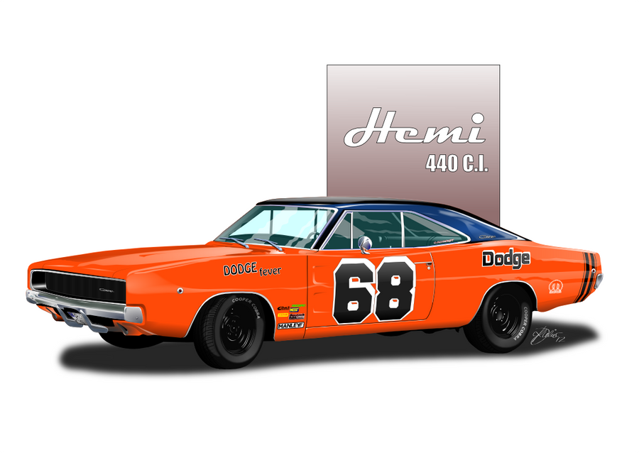 68 Dodge Charger using Inkscape by KJRents