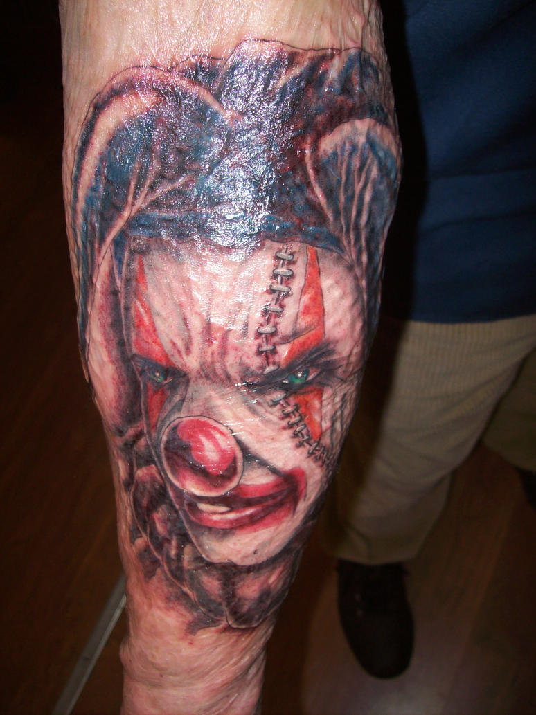 Evil clown sleeve wip by spidey1 on deviantart for Evil tattoo sleeve