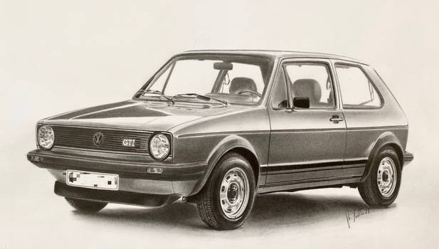 Golf GTI Mark1 1976 Graphite Drawing