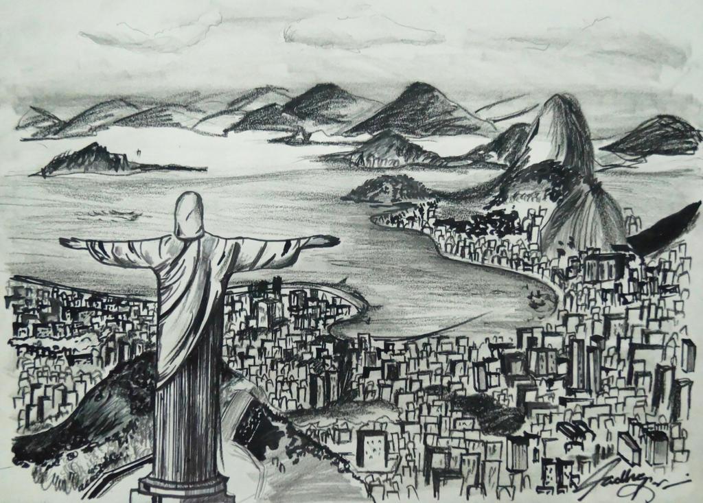 Brazil Rio De Janerio (Madhav Kohli art) by madhavkohliart