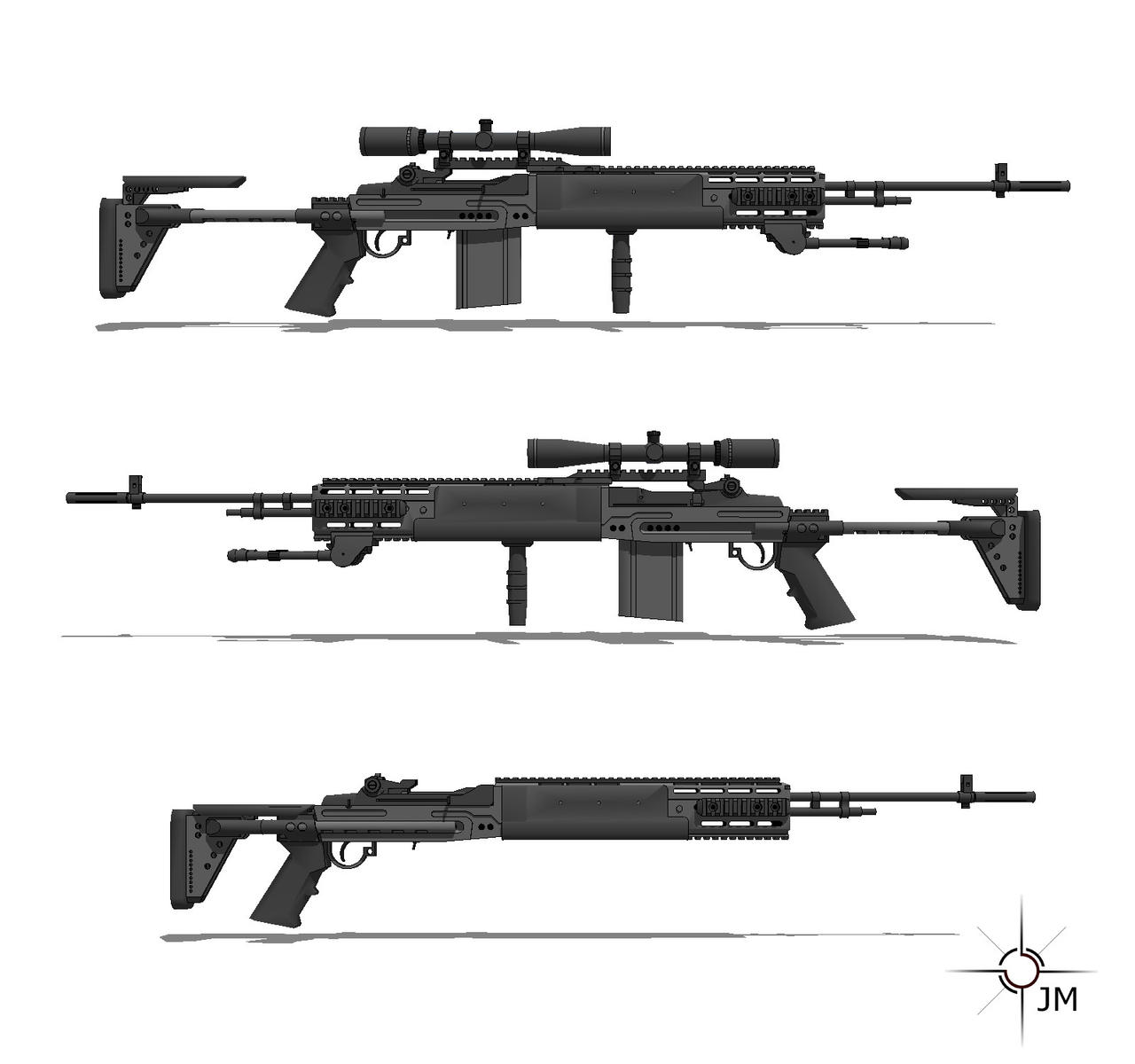 M14 EBR Side View by  M14 Ebr Mw2