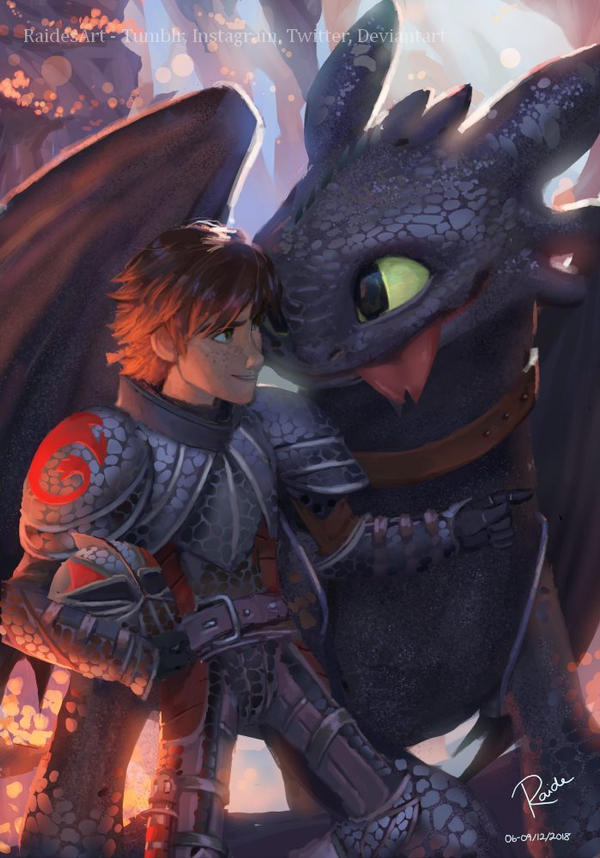 Hiccup and Toothless by RaidesArt