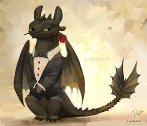 Toothless in a Tux by RaidesArt