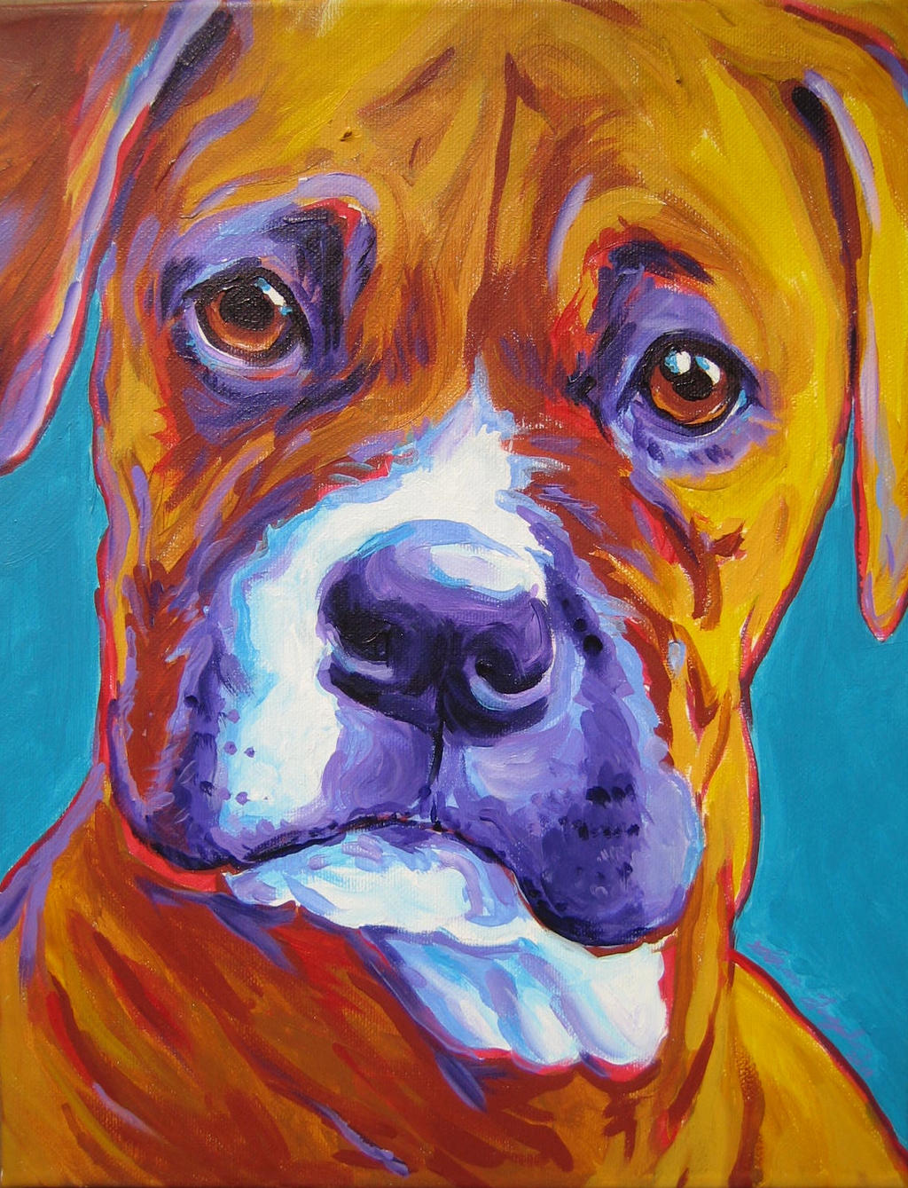 Boxer on Teal by samtaylor5