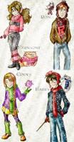 Harry,Hermione,Ron,Ginny-Snow