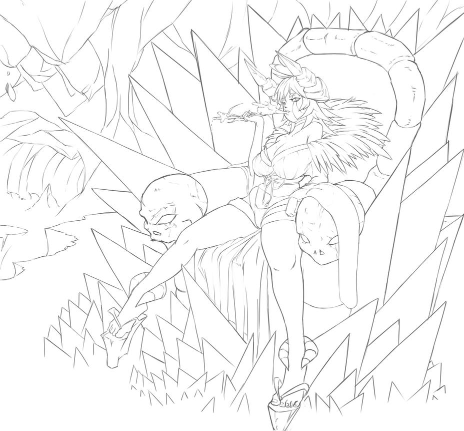 Line Art Queen : Line art hell queen by nehis on deviantart