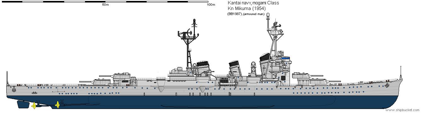 Mogami class heavy cruiser (1954) by space-joe