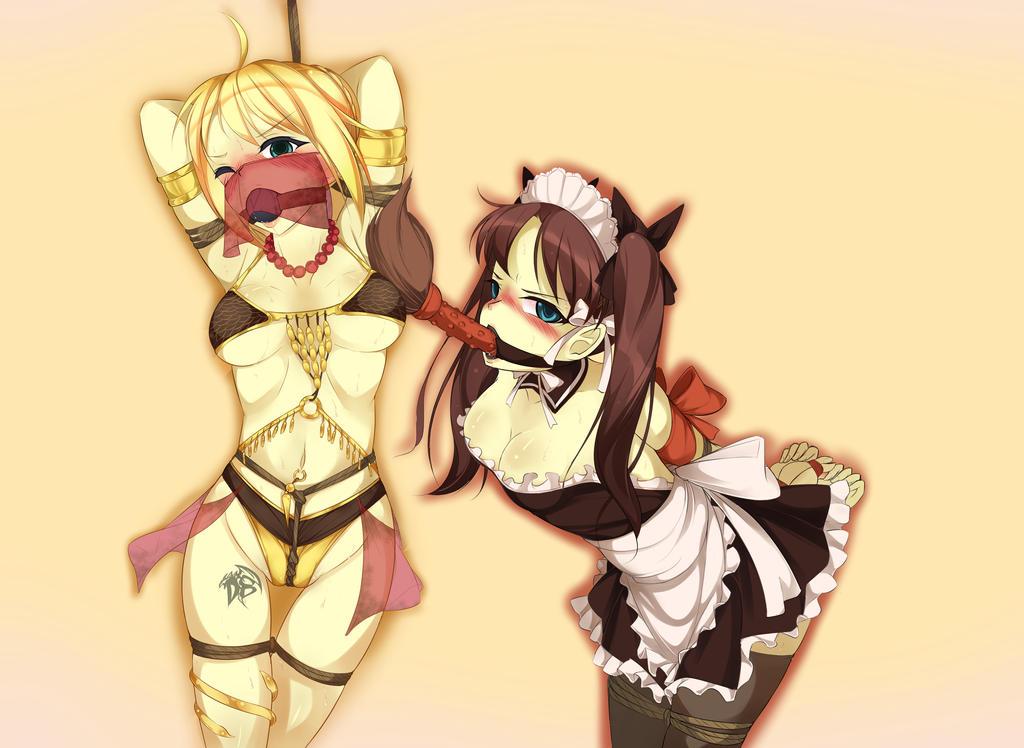 U-Commission 3: Saber and Rin are Bondage Slaves by Dragon-Burst