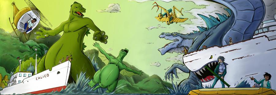 Hanna Barbera Godzilla Vs Sony Godzilla colored by gfan2332